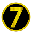 Number seven button vector image