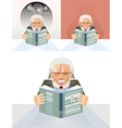 Old man reading a book Education Concept vector image