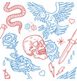 old school tattoo line pattern vector image vector image