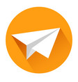 paper airplane icon on white stock vector image vector image