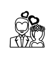 pictogram bride and groom wedding heart design vector image
