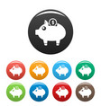 piggy bank icons set color vector image