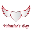 Red and white heart with wings cut on the isolated vector image