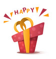 red happy birthday gift with bow vector image