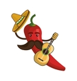 red hot chili pepper with mexican hat vector image vector image