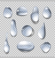 set isolated water drops on transparent vector image