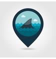Shark fin pin map icon Summer Vacation vector image
