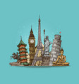 travel journey concept famous world landmarks vector image