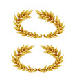 two golden laurel wreaths vector image vector image