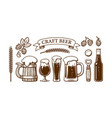 vintage beer set old wooden mug glasses opener vector image vector image