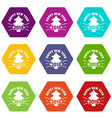 vintage christmas tree icons set 9 vector image vector image