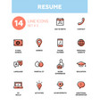 resume - modern simple thin line design icons vector image