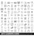 100 e-leaning icons set outline style vector image vector image
