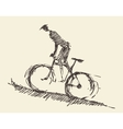 Bicyclist rider man bike hand drawn sketch vector image vector image