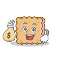 biscuit cartoon character style with money bag vector image