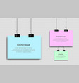 blank posters hanging with binder clips vector image vector image