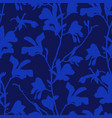 blue floral background with branch and magnolia vector image vector image