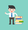 businessman librarian or teacher stand with stack vector image