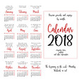 calendar grid for 2018 year by months vector image