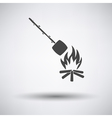 Camping fire with roasting marshmallo icon vector image vector image