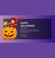 cartoon kids sitting on halloween pumpkin poster vector image vector image