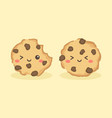 cute choco chip cookies cartoon vector image vector image