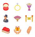 darling icons set cartoon style vector image