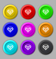 Diamond Icon sign symbol on nine round colourful vector image