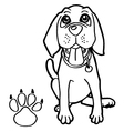 dog with paw print Coloring Page vector image vector image