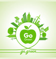 eco energy concept with leafcityscape and apple vector image vector image