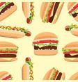 fast food seamless pattern hamburger and hot dog vector image vector image