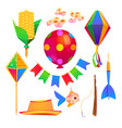 festa junina party cartoon elements set vector image vector image