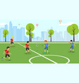 flat football match school childrens team vector image vector image