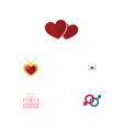 flat icon passion set of patisserie sexuality vector image vector image