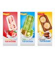 fruit ice cream realistic banners vector image