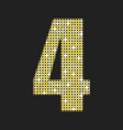 gold sequins number - four glitter font vector image