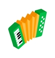 Green accordion with yellow bellows icon vector image vector image