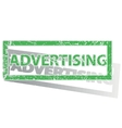 Green outlined ADVERTISING stamp vector image