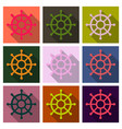 hand drawn of ships wheel in line art style with vector image vector image