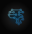 human brain as digital circuit board blue outline vector image vector image