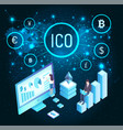 ico and woman with whiteboard and charts vector image vector image