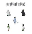 isometric people set of doctor pedagogue vector image