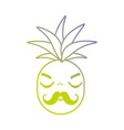 line kawaii cute angry pineapple fruit vector image vector image