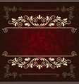 luxurious gold pattern frame on a dark burgundy vector image