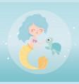 mermaid and turtle bubbles cartoon under sea vector image vector image