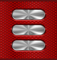 metal oval brushed plates on red perforated vector image vector image