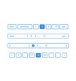 pagination bars color blue and white vector image vector image