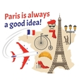 Paris Decorative Flat Icons Set vector image vector image