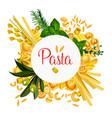 pasta italian macaroni poster vector image vector image