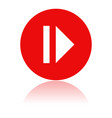 pause icon round red icon with reflection vector image vector image